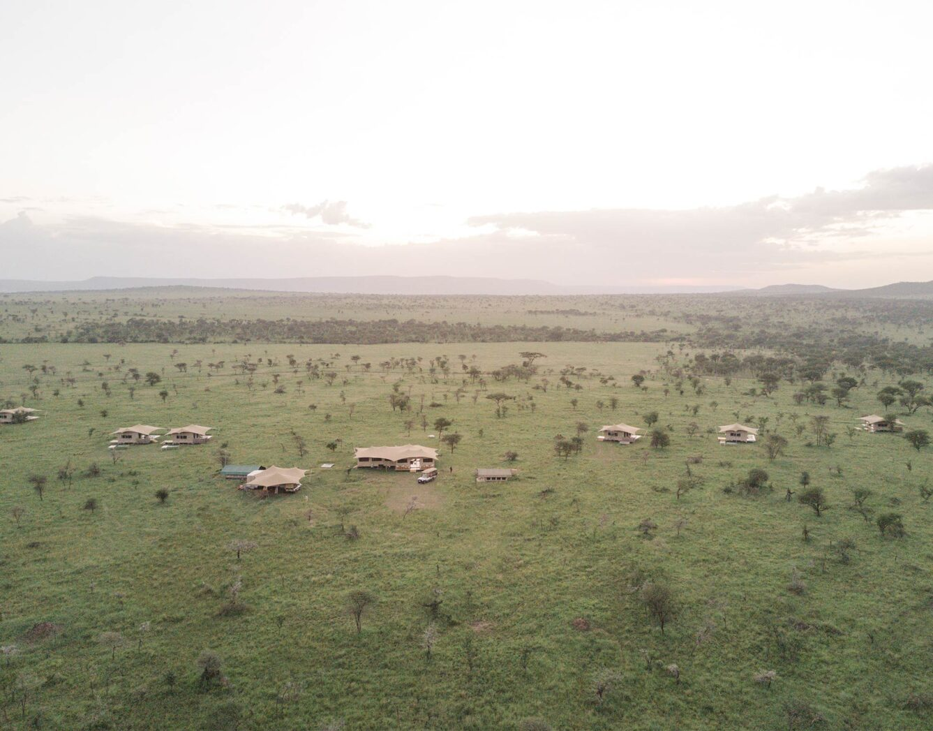 An arial view of the Roving Bushtops camp